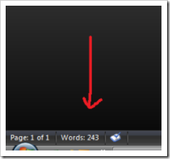 how to add word count to status bar