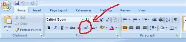 how to write superscript in word