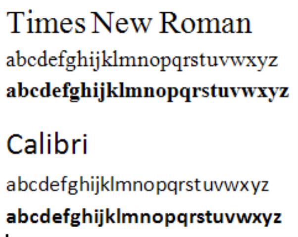 Cambria Font Vs Times New Roman
