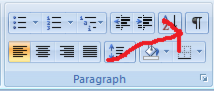 How to turn codes on and off in Word 2007