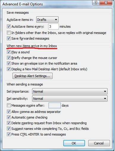 Turn on or off new email notifications in Outlook 2007 - TheNewPaperclip.com