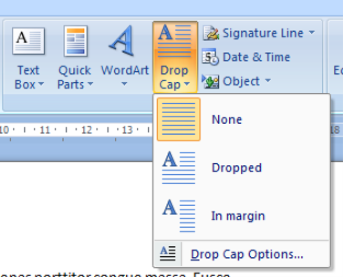 Drop Cap Menu Word 2007